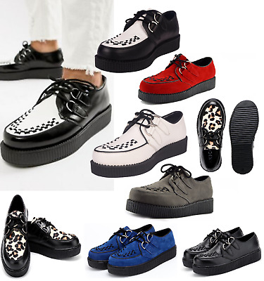 Mens Genuine Suede Flat Platform Teddy Boy Goth Punk Creepers Shoes Boots Size