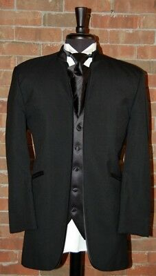 Mens 44 S Jean Yves Mirage Black Mandarin Collar Tuxeo Jacket  Modern Slim Fit