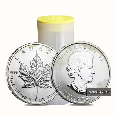 Roll of 25 - 1 oz Silver Canadian Maple Leaf (Milky, Cull, Damaged, Circulated,