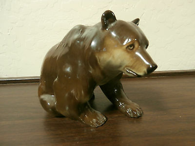 RUSSIAN Imperial Lomonosov Porcelain Big Brown Grizzly Bear - Dated & Marked