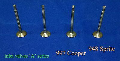 Inlet Valves (4) A Series 997 Cooper, 948 Sprite, OEM Replacement, Std. Size