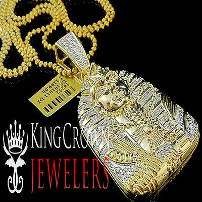 "Mens Real Diamond Egyptian Pharaoh King Tut Pendant Yellow Gold Finish 2.5"" 30gm"