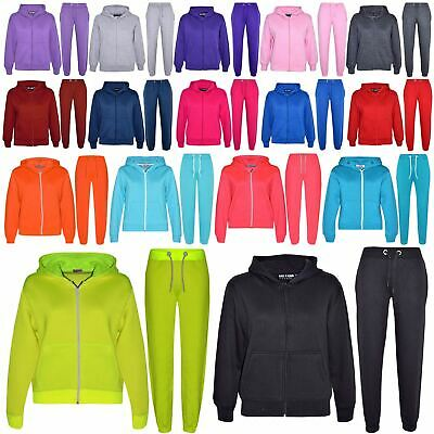 Kids Girls Boys Plain Tracksuit Hooded Top Bottom Back To School Jog Suit 2-13Yr