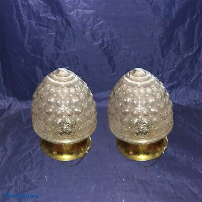 Vtg Sconce Fixtures Bathroom Hallway Lights Wired Matched Pair Brass Patina 4E