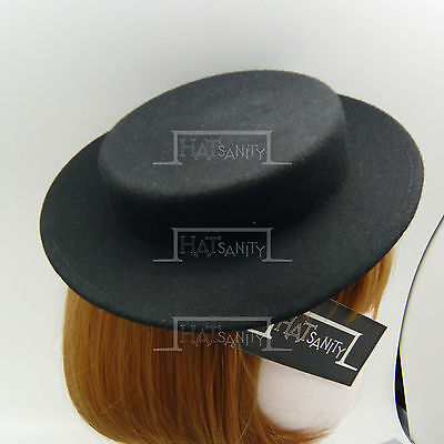 CLASSIC Wool Felt Women Fascinator Ladies Mini Boater Top Hat Panama NEW | Black