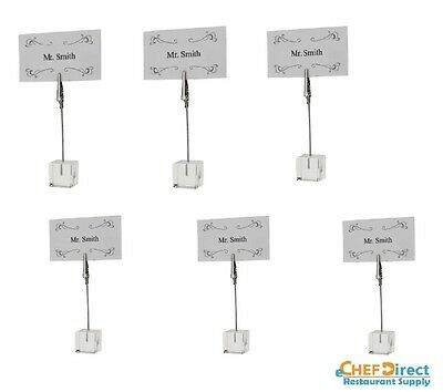 6 PCs Nickel Plated Table Sign Clip With Square Acrylic Base