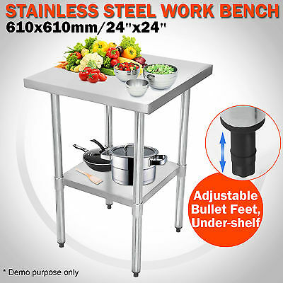 610X610mm Stainless Steel Commercial Catering Table Work Bench Kitchen Top 2x2FT