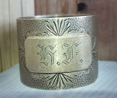 Antique Sterling Silver NAPKIN RING Geometric Design etched Leaves mono BF