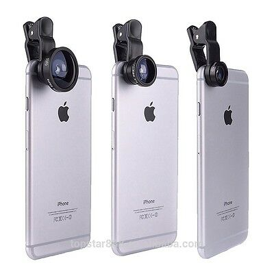 3 IN 1 CAMERA LENS CLIP FISHEYE MACRO WIDE ANGLE   iPhone 4 5 6s SAMSUNG