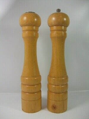 """12"""" Tall Wooden Salt Shaker and Pepper Mill Large Natural Light Wood"""