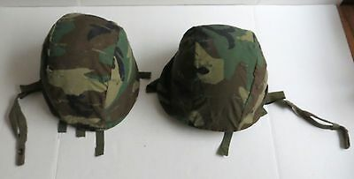 Vintage Metal Army Military Helmets Camo Cover lot of 2