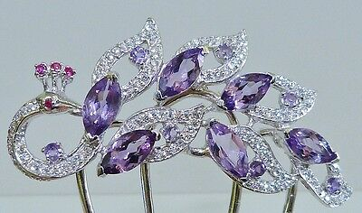 GENUINE 7.05cts! Brazilian Amethyst, Solid Sterling Silver 925 Hair Comb/Pin!!
