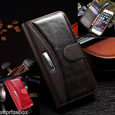Genuine Leather Purse Wallet stand case cover for LATEST UK SMART PHONES