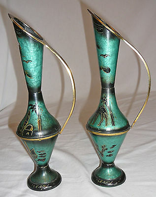 Set of two Israeli brass and enamel jugs circa 1960