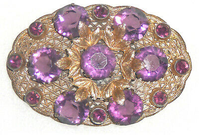 Victorian amethyst and brass sash pin, mint condition