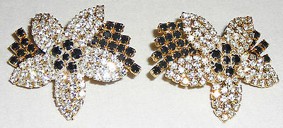 Quality crystal Pave earrings, Eighties vintage, black and white