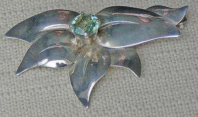 Vintage Swedish sterling silver brooch, safety catch, aquamarine center stone