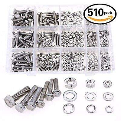 Glarks 510 Pieces Flat Hex Stainless Steel Screws Bolts nuts Lock and Flat