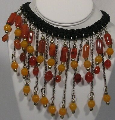 Braided vintage necklace carnelian beads, metal chains