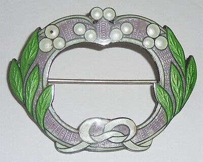 British .925 sterling and enamel vintage brooch. Lavender, apple green and white