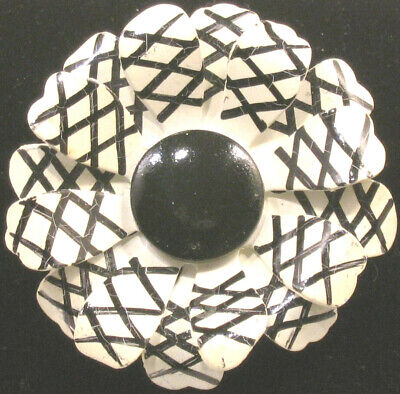 1960s hand painted white flower metal brooch W Germany