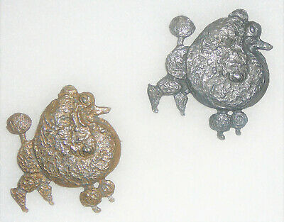 Set of metal Show Poodle Brooches pewter & copper color