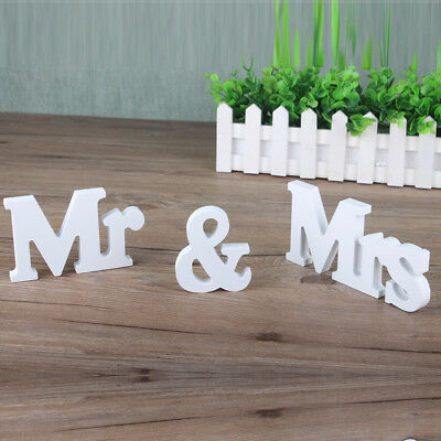 White Mr & Mrs Letters Sign Wooden Wedding Decoration Standing Top Table
