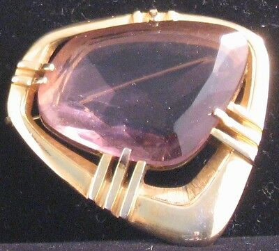 1960s Deco English brooch, stamped CP, amethyst-color stone