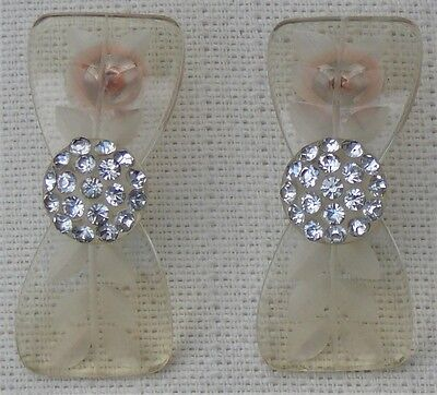 Bow shaped celluloid and crystal pierced earrings
