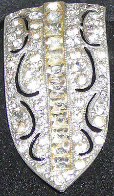 Vintage crystal dress clip, square cut crystals in the center