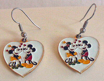 Mickey and Minnie Mouse Enamel Heart Earrings