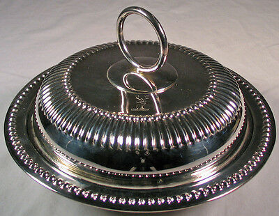Extremely vintage Scone Dish / Butter Dish, 3 pieces, silver plated