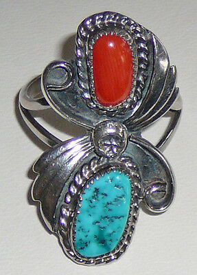 Eighties vintage Sterling Turquoise and Coral ring