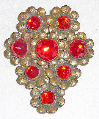 Tangerine and brass floral dress clip with colored stone centers