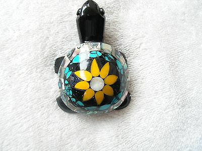 Turtle Obsidian Stone Inlaid Of Abalone Shell,turquoisa, Blue Stone  New.