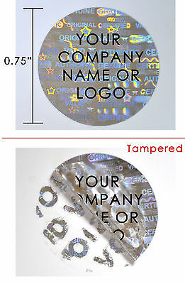 "500 Hologram Round Security Labels Stickers Seals Custom Print Silver 3/4"" Dia."