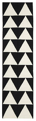 80x300 Runner Flatweave Wool Floor Rug GYPSY Modern Black Geometric NM26BK