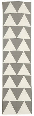 80x300 Runner Flatweave Wool Floor Rug GYPSY Modern Grey Geometric NM26GR