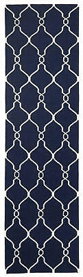 80x300 Runner Flatweave Wool Floor Rug GYPSY Modern Navy Diamond Trellis NM27NV