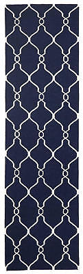 80x400 Runner Flatweave Wool Floor Rug GYPSY Modern Navy Diamond Trellis NM27NV