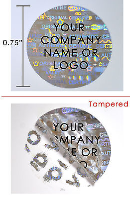 """1,000 Hologram Round Security Labels Sticker Seals Custom Print Silver  3/4"""" Ps3"""