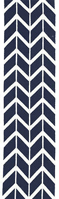 80x300 Runner Flatweave Wool Floor Rug GYPSY Modern Navy Zig Zag Chevron NM30NV