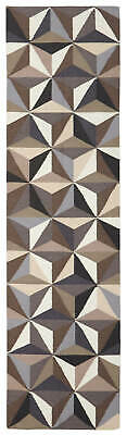 80x300 Runner Flatweave Wool Floor Rug GYPSY Modern Grey Geometric Matrix NM31GR