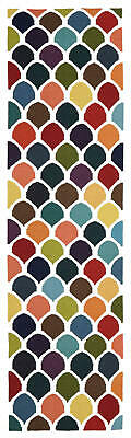 80x300 Runner Flatweave Wool Floor Rug GYPSY Modern Multicolour Fish Scale NM32M