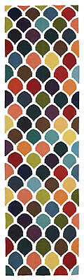 80x400 Runner Flatweave Wool Floor Rug GYPSY Modern Multicolour Fish Scale NM32M