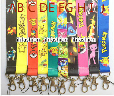 Lot 10designs Pikachu Pokemon mix Lanyard Mobile Phone ID Card KeyChain Holder