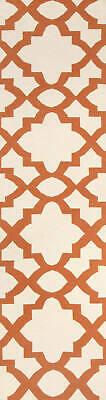 80x400 Runner Flatweave Wool Floor Rug GYPSY Modern Orange Trellis NM17OR