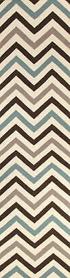 80x300 Runner Flatweave Wool Floor Rug GYPSY Modern Blue Zig Zag Chevron NM18BLU