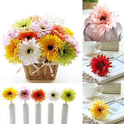 10PCS Large Artificial Silk Daisy Flower Gerbera Wedding Home Party Office Decor