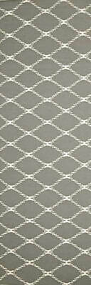 80x300 Runner Flatweave Wool Floor Rug GYPSY Modern Grey Diamond Trellis NM19GR